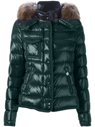 Moncler Raccoon Fur Trim Padded Jacket Green