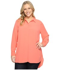Vince Camuto Plus Size Long Sleeve Button Up Collared Tunic Coral Passion Women's Clothing