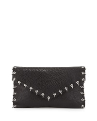 Ash Frankie Ring Stud Lambskin Clutch Bag Black