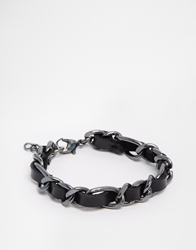Asos Leather And Chain Woven Bracelet Black
