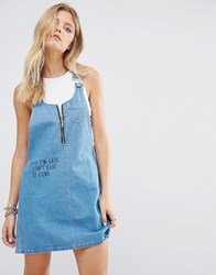 Noisy May Dungaree Dress With Scribble Detail Light Blue