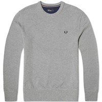 Fred Perry Pique Crew Neck Sweat Grey