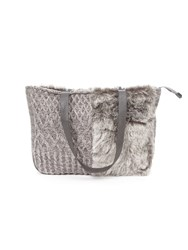 Lavand Faux Fur Tote Bag Grey
