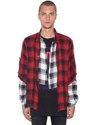 Faith Connexion Layered Check Patchwork Cotton Shirt Red Black