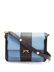 Marni Trunk Striped Medium Leather Shoulder Bag Blue Stripe