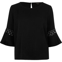 River Island Womens Black Crochet Flute Sleeve Top