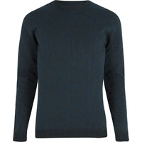 Only And Sons River Island Mens Navy Textured Crew Neck Jumper