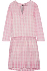 Rochas Pleated Gingham Silk Tulle Mini Dress Pastel Pink