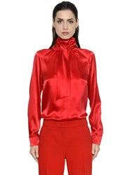 Max Mara Bow Collar Washed Silk Satin Shirt