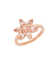Lord And Taylor Morganite White Topaz 14K Rose Gold Floral Ring