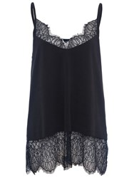 French Connection Swift Drape Lace Trimmed Camisole Black
