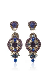 Ranjana Khan Black Lapis Brass Earrings