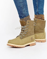 Timberland Authentics Teddy Fleece Lace Up Flat Boots Taupe