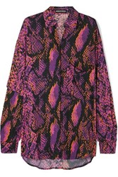 House Of Holland Oversized Snake Print Crepe De Chine Shirt Pink