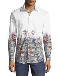 1 Like No Other Slim Fit Regular Finish Butterfly Print Sport Shirt Multi