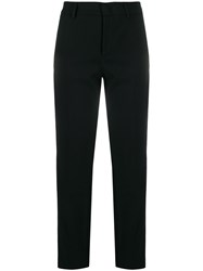 Red Valentino Side Stripes Cropped Trousers Black