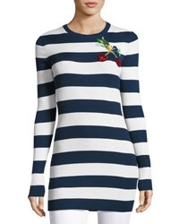 Dolce And Gabbana Fruit Embellished Striped Knit Tunic White Navy Multi
