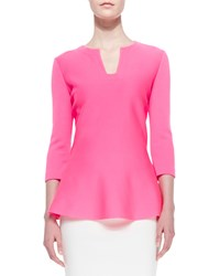 St. John Milano Knit 3 4 Sleeve Notched Neck Top Electric Pink