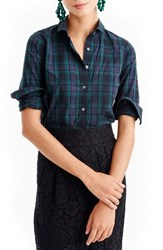 J.Crew Women's Perfect Club Collar Black Watch Plaid Shirt