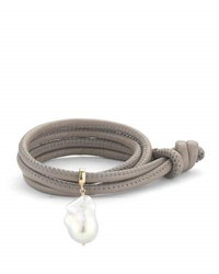 Mizuki Baroque Pearl And Leather Wrap Bracelet Taupe
