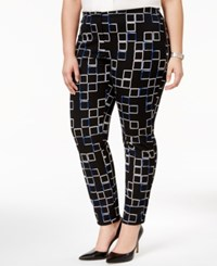 Alfani Plus Size Printed Skinny Pants Only At Macy's Small Faded Squares