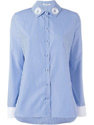 Carven Pinstriped Long Sleeve Shirt White
