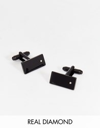 Asos Black Cufflinks With Real Diamond