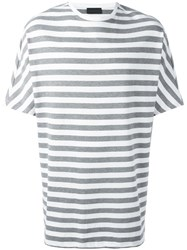 Diesel Black Gold Striped Boxy T Shirt Grey