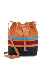 Mother Of Pearl Small Bucket Bag Tan Stripe
