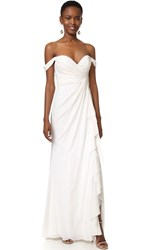 Badgley Mischka Collection Off Shoulder Gown Light Ivory