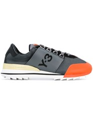 Y 3 Contrast Toe Lace Up Sneakers Grey