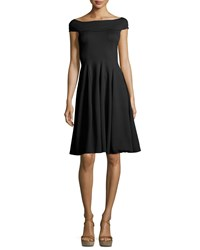 Armani Collezioni Milano Jersey Off The Shoulder Fit And Flare Dress Black