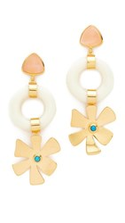Lizzie Fortunato Lotus Earrings Gold White Rose