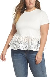 Lost Ink Plus Size Women's Broderie Hem Tee White