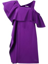 Dorothee Schumacher Ruffled Asymmetric Dress Pink Purple