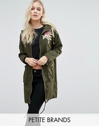 New Look Petite Embroidered Parka Jacket Green