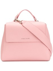 Orciani Pebbled Foldover Top Shoulder Bag Pink And Purple