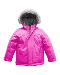 The North Face Greenland Down Hooded Jacket W Faux Fur Trim Size 2 4T Pink