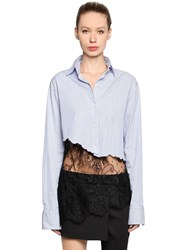 Filles A Papa Cropped Cotton Shirt With Lace Hem