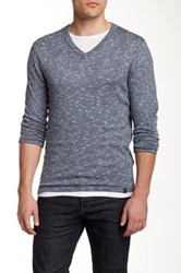 Dkny Space Dye V Neck Sweater Blue