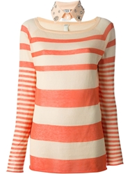 Pinko Striped Sweater Yellow And Orange