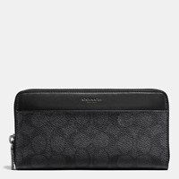 Coach Accordion Wallet In Signature Coated Canvas Charcoal