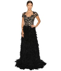 Marchesa Threadwork And Jet Crystal Embroidered A Line Gown With Fringed Feather Skirt Black