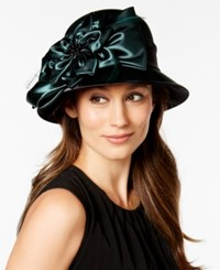 August Hats Satin Flower Dress Cloche Green