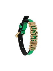 Moschino Encrusted Logo Bracelet Green
