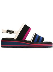 Lanvin Striped Sandals Black