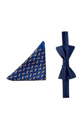 Tommy Hilfiger Fox And Herringbone Silk Bow Tie And Pocket Square Set Blue