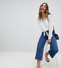 River Island Wide Leg Cropped Jeans Blue