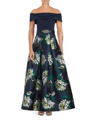 Eliza J Off The Shoulder Floral Printed Pleated Gown Navy Lime