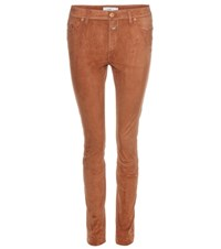 Closed Suede Skinny Trousers Brown